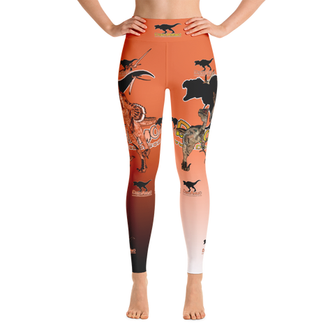 Dino Ammo Velociraptor Orange Yoga Leggings