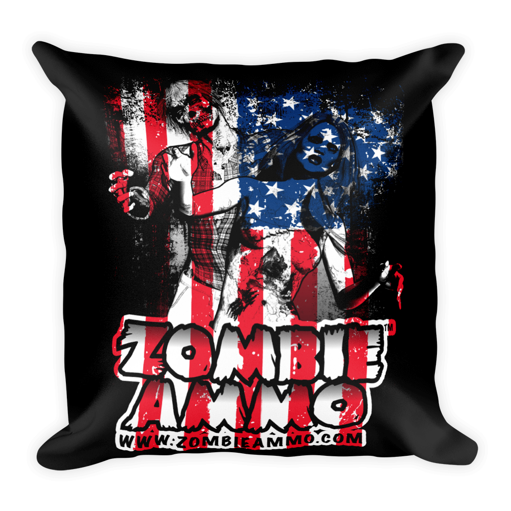 Zombie Ammo Patriot Square Pillow