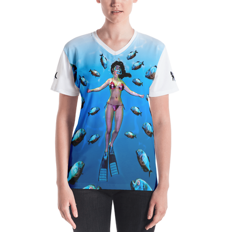 Shark Target's Piranha Women's V-neck