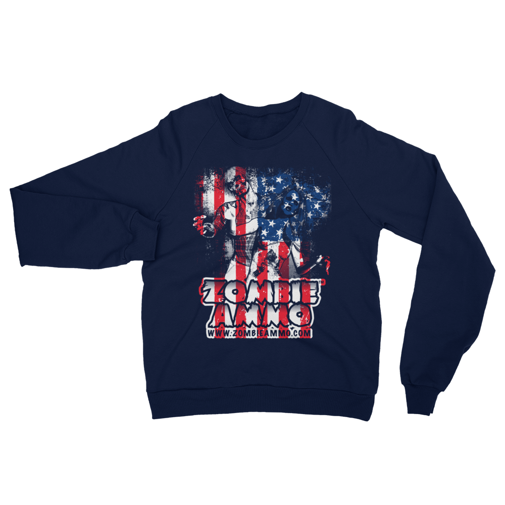 Zombie Ammo Classic Patriot Unisex California Fleece Raglan Sweatshirt