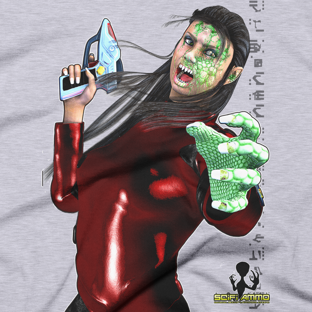 SciFi Ammo Lizard Lady Full Color Short sleeve men's t-shirt