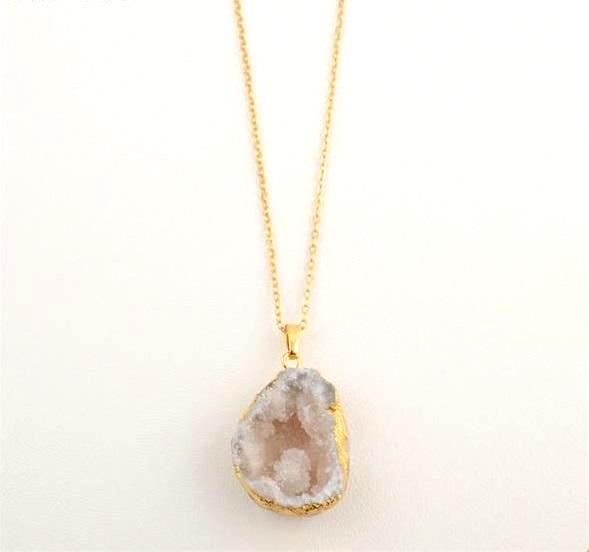 Raw White Geode Crystal Necklace