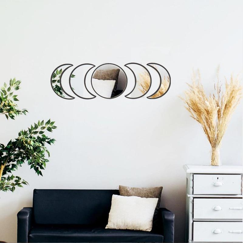 5-Piece Boho-Inspired Moon Mirrors