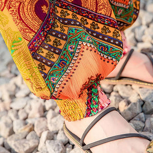 Ethnic Style Boho Print Beach Pants