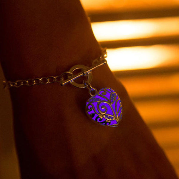 Glow In the Dark Heart Chakra Locket Bracelet