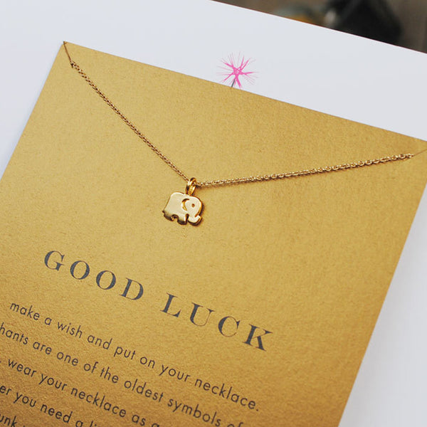 Gold Lucky Elephant Collarbone Necklace