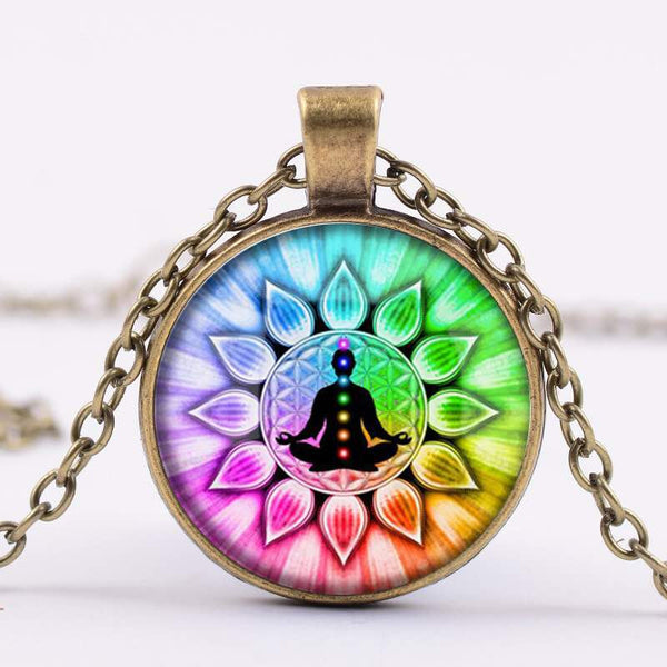 Glass Chakra 'Flower of Life' Cabochon Necklace