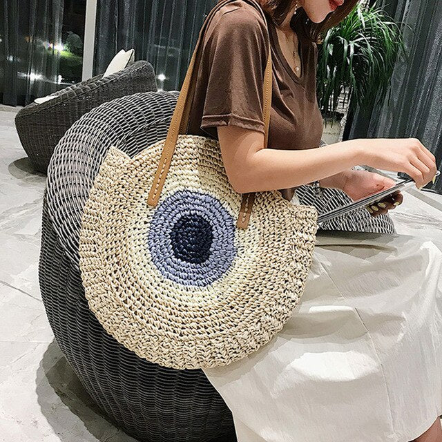 Third Eye Straw Boho Handbag