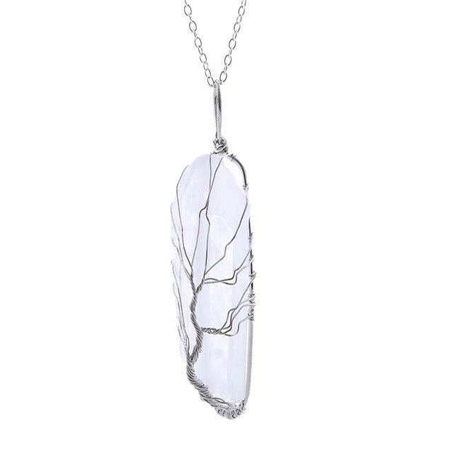Natural Quartz Crystal 'Tree of Life' Necklace