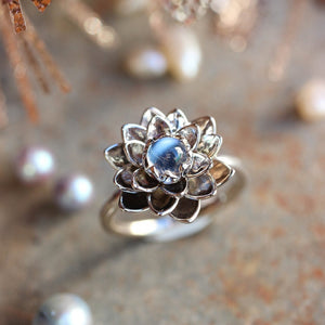 Handmade Lotus Flower Moonstone Ring - Buy 1 Get 1 FREE