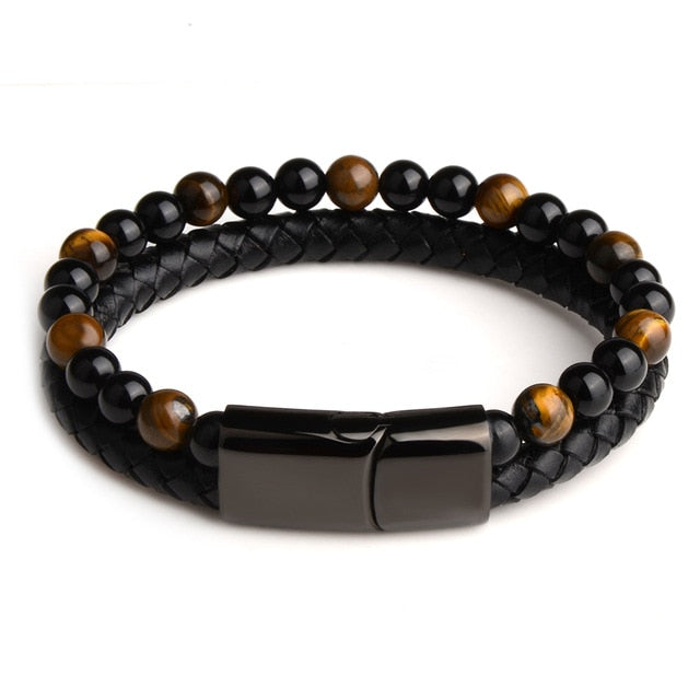 Natural Stone Genuine Leather Bracelet