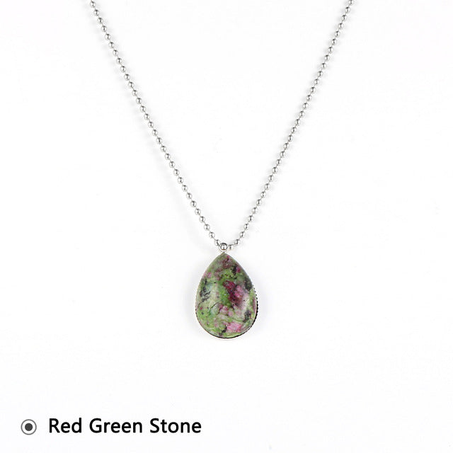 Natural Gemstone Teardrop Pendant Necklace