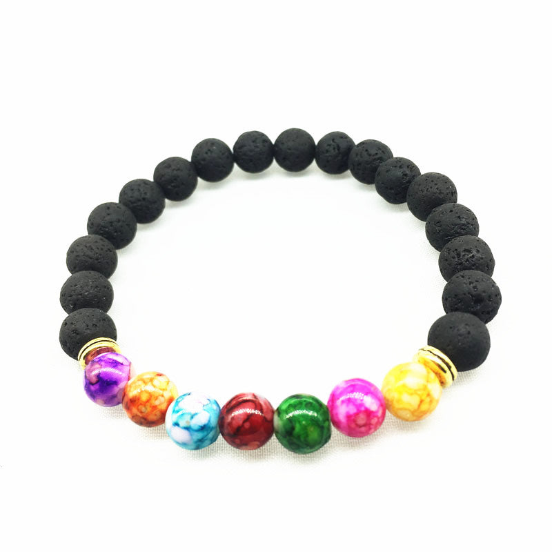new fluorescent chakra lava stone bracelet chakra conscious. Black Bedroom Furniture Sets. Home Design Ideas