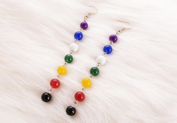 7 Chakra Polished Drop Earrings