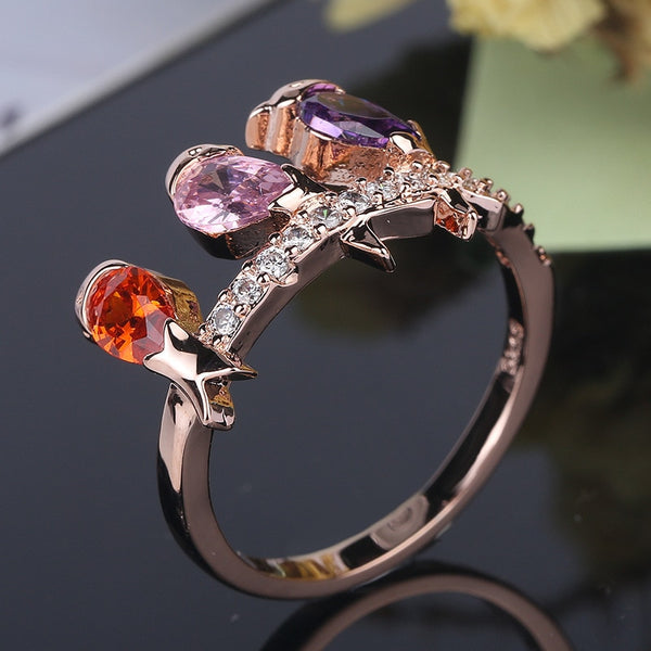 Evie - Mixed Topaz Crystal Bird Ring