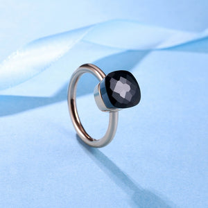 925 Sterling Silver Rose-Gold Crystal Ring