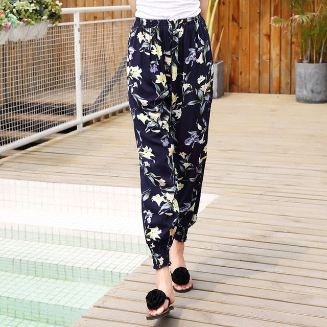 Ladies Taro Flower Nine Points Harem Pants