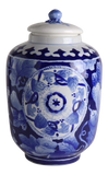 Asian Blue and White Hand Painted Jar
