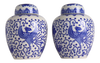 Japanese Blue and White Flying Phoenix Ginger Jars - a Pair
