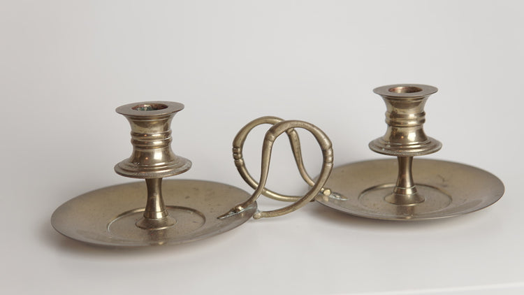 Brass Swan Handle Candle Holder- Pair