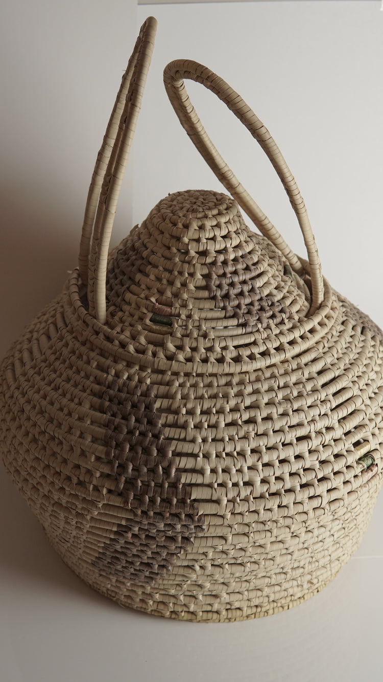 Vintage Handwoven Tribal Basket