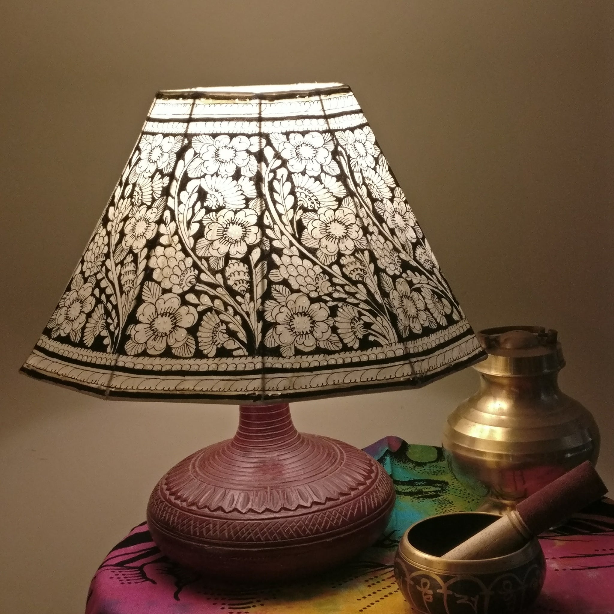 lamp shade roung shades indian leather big india decors for home sustainability artisan ekrafts round initiative nabard