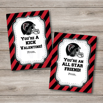 Printable Atlanta Falcon's Football Valentines, Print at Home, Instant Download