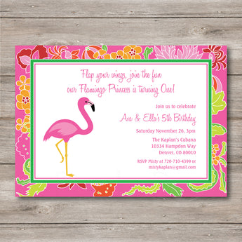 Flamingo Invitation to Print at Home, DIY Pink Flamingo Invitation with Editable Text