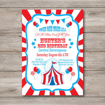 Carnival Invitation with Editable Text, Carnival Birthday Party Invitation to Print at Home