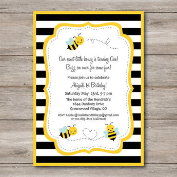Bumble Bee Party Invitation. Instant Download! Personalize and Print at Home