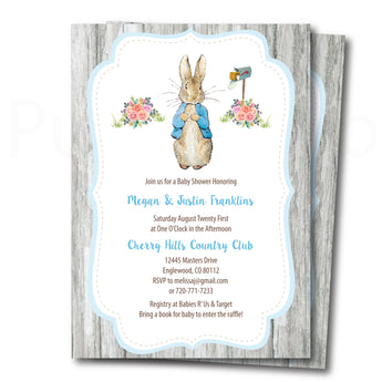 Peter Rabbit Baby Shower Invitation with Editable Text to Print at Home, Instant Download!