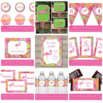 Pink Flamingo Party Kit with Invitation, Printable Flamingo Party with Editable Text