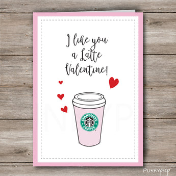 Coffee Lover Valentines Day Card to Print at Home Instant Download