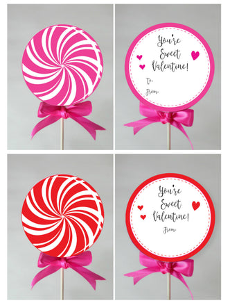 Kid's Lollipop Valentines to Print at Home, DIY Instant Download