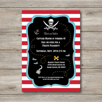 Pirate Invitation with Editable Text to Print at Home, DIY Pirate Invite