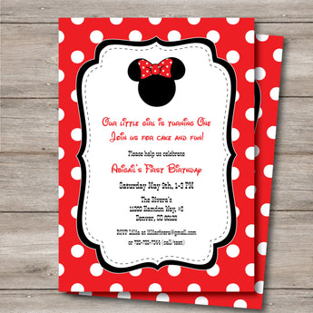 Minnie Invitation with Editable Text to Print at Home, DIY Minnie Birthday Invite, Minnie Baby Shower Invitation, Instant Download!