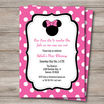 Minnie Invitation with Editable Text to Print at Home, DIY Minnie Shower or Birthday Invitation, Instant Download