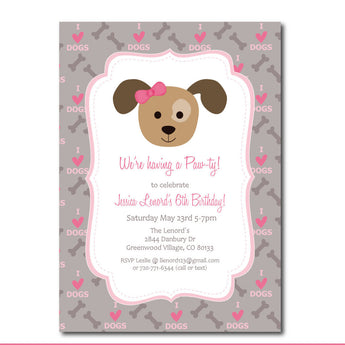 Puppy Party Invitation with Editable Text, Dog Party invitation to Print at Home, Instant Download!