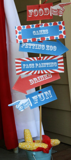 Carnival Directional Signs to Print at Home, DIY Carnival Party Signs