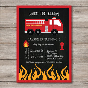 Fireman Birthday Invitation w/ Editable Text to Print at Home, DIY Firetruck Invitation, Instant Download