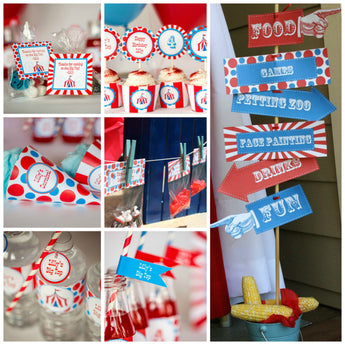 Carnival Party Kit w/ Editable Text and Invitation, Printable Carnival Party Kit, DIY Carnival Party