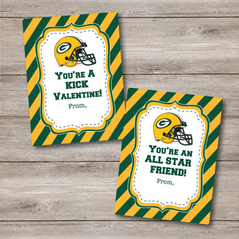 Green Bay Packers School Valentines to Print at Home, DIY Printable Packer Valentines