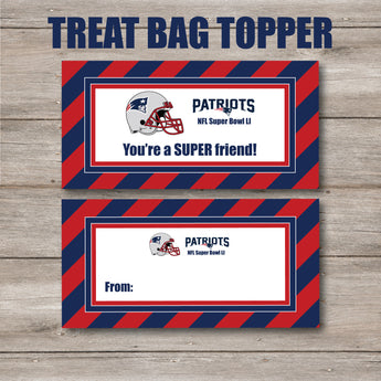 Patriot Super Bowl Valentine Treat Bag Topper, Print Your Own