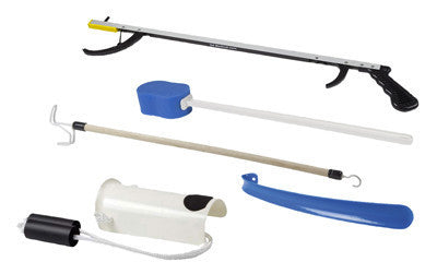 "HIP KIT #3: 32"" REACHER, STRAIGHT HANDLE SPONGE, DELUXE SOCK AID, SHOEHORN, DRESSING STICK"