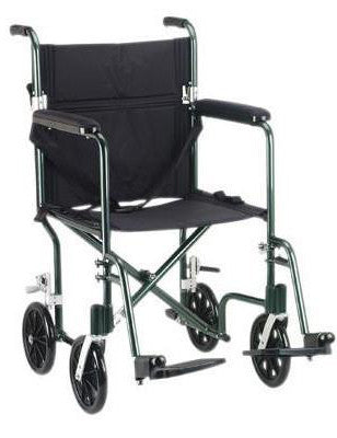 Transport wheelchair, aluminum, 19 inch seat, blue