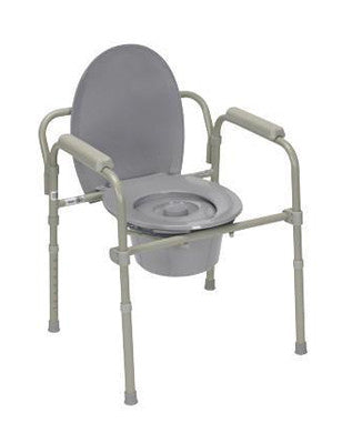 Commode with fixed arms, steel, adjustable height, x-wide bariatric