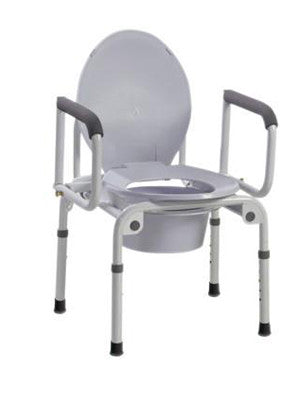 Commode w/ Drop Arms, Deluxe Steel, Padded Seat