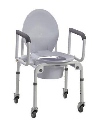 Commode with drop arms, with wheels, aluminum