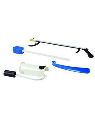 "FabLife Hip Kit: 26"" reacher, contoured sponge, formed sock aid, 18"" plastic shoehorn"
