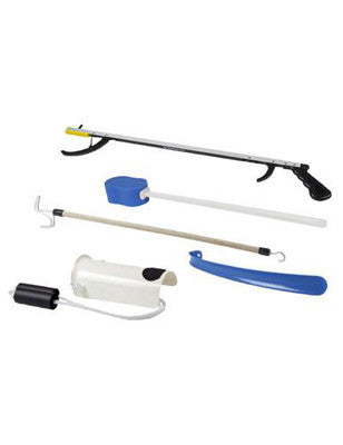 "FabLife Hip Kit: 32"" reacher, sponge, sock aid, 18"" shoehorn"
